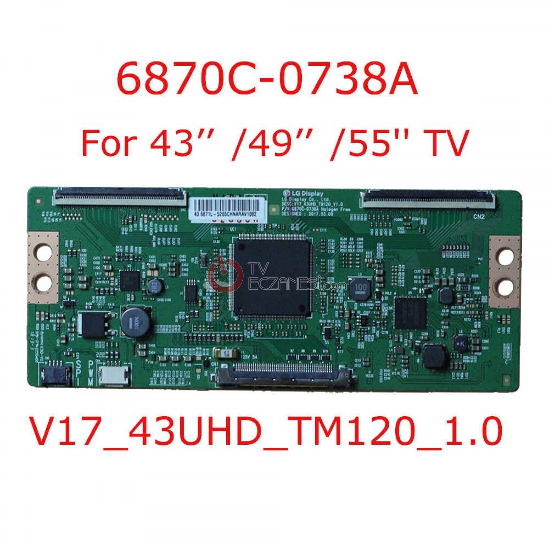 6870C-0738A, TCON BOARD, V 17 43UHD TM120 1.0