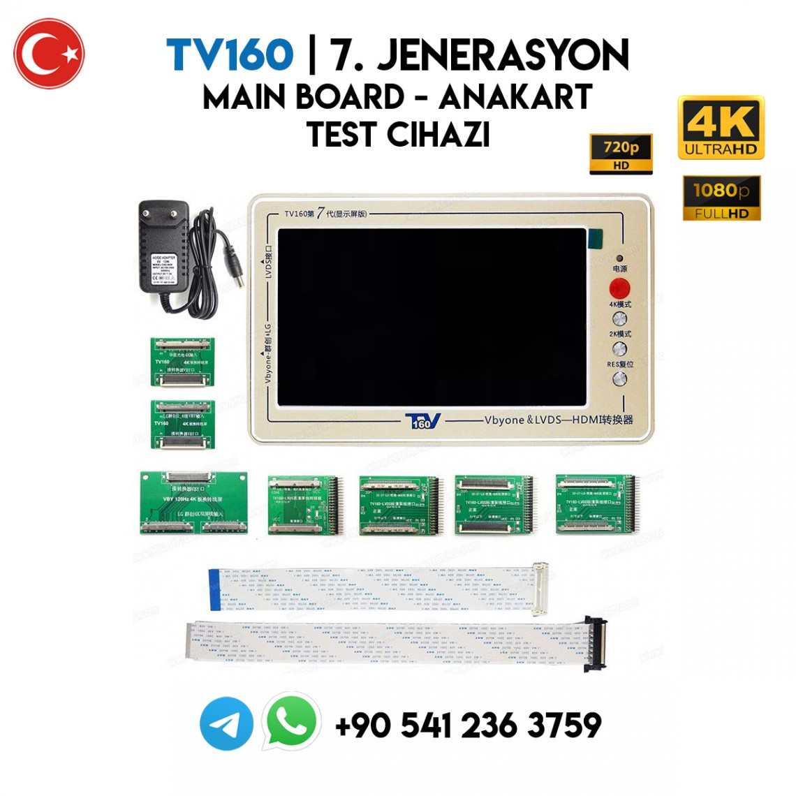 TV160 | 7. JENARASYON, Lcd, Led TV Main Board, Anakart Test Cihazı, 4K, 2K, FULL HD, HD READY